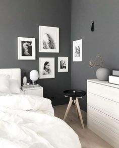 33 Scandinavian Bedroom Ideas That Are Modern and Stylish. Scandinavian Bedroom Ideas That Are Modern And Stylish Don't forget, a substantial emphasis is put on white bedroom ideas and colour schemes, so it could be better to […] Dark Gray Bedroom, Gray Bedroom Walls, Master Bedroom Interior, Home Decor Bedroom, Bedroom Ideas Grey, Design Bedroom, Dark Grey Walls, Scandinavian Bedroom Design, Bedroom Modern