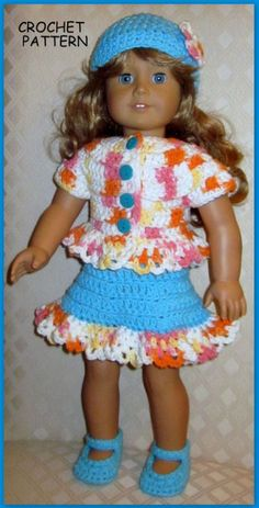 free crochet patterns for american girl doll clothes - Yahoo Image Search Results Doll Clothes Barbie, Crochet Doll Clothes, Knitted Dolls, Doll Clothes Patterns, Crochet Dolls, Doll Patterns, Doll Dresses, Doll Outfits, Crochet Gifts