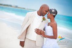 Caribbean Beach Wedding Portrait www.MyParadisePhoto.com | love her veil piece