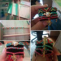 Confection d'un bracelet maison style Hipanema : tissage en perles, tresse de rubans et breloques