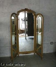 Antique silver 3 fold free standing mirrored dressing for Floor length vanity mirror