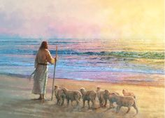 painting of jesus christ standing on the beach with several small lambs Paintings Of Christ, Christian Paintings, Christian Artwork, Jesus Painting, Christian Artist, Images Of Christ, Pictures Of Jesus Christ, Lds Art, Bible Art