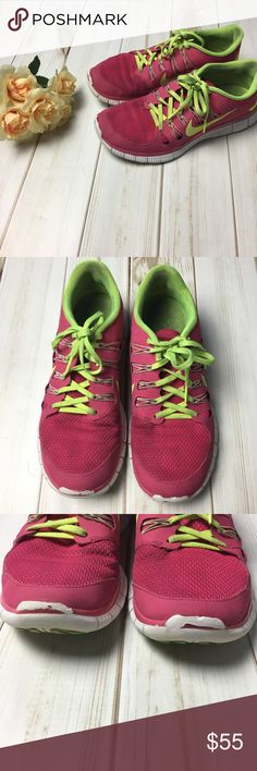 Pink & Green 5.0 Nike Free Runs Sneakers ✨A little scuffed up/Gently Used✨ ‼️Bundle To Save‼️ ✅Reasonable Offers Welcome✅ ❌No Trades/ Off Poshmark Transactions❌ Nike Shoes Athletic Shoes
