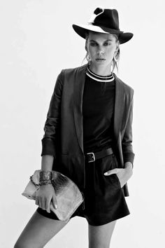 Forte_Forte jacket from Belinda, Marni tee from The Corner Shop, Bassike leather shorts, R.M.Williams hat, Raven Kauffman Couture clutch with cuff from Pierre Winter Fine Jewels, Strandhatters belt, House of Harlow moon earrings