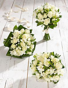 White Rose & Freesia Wedding Flowers - Collection 1
