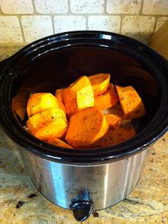 Brown Sugar Chicken & Sweet Potatoes: Crock pot magic! A yummy one pot meal. Super easy too. No pre-cooking, just throw all in pot & voila!