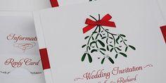 Pocketfold Christmas Wedding Invitations - 'Santa Baby'   Handmade Wedding Invitations
