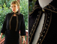 Barcelona 1940's 30's Vintage Black Wool Cropped Cardigan Sweater with Braided Metallic Gold size Small Medium