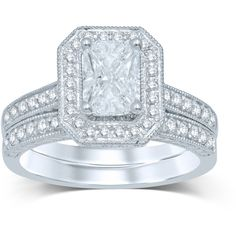 1 CT. T.W. Fancy-Cut Diamond 14K White Gold Bridal Ring Set ($4,033) ❤ liked on Polyvore featuring jewelry and rings