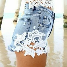<< Denim and Lace High Waist Shorts >> My favorite shorts everrrrrrrr!  So adorable, so stylish, can be worn so many ways!  Only available in size 38 Twang Boutique  Shorts Jean Shorts