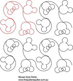Mouse ears panto for JJ's quilt. Quilting Stitch Patterns, Machine Quilting Patterns, Quilt Stitching, Quilt Patterns Free, Machine Embroidery, Quilting Stencils, Quilting Templates, Longarm Quilting, Free Motion Quilting
