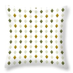 """Green and Gold Diamond Pattern 14"""" x 14"""" Throw Pillow by Christina Rollo.  Multiple sizes available."""