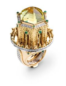 Yellow and white gold, lemon quartz, diamonds and emeralds. The dome is raised and rotates. High Jewelry, Luxury Jewelry, Modern Jewelry, Jewelry Art, Antique Jewelry, Jewelry Rings, Jewelry Design, Rings Cool, Unique Rings