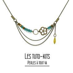 Créez votre bijou fantaisie avec notre kit collier Essali réalisé à partir de breloque bronze, perle de jade et sequin goutte émaillé.