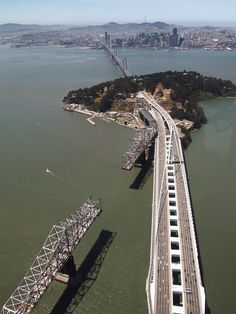 NEW Oakland Bay Bridge, and beginning of the destruction of the old span. San Francisco City, San Francisco California, Bridge Construction, Aerial Photography, Golden Gate Bridge, Bay Area, Scenery, Places To Visit, Galway Ireland
