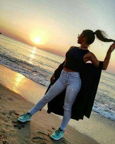 Sunset ❤ #girl #nature #sunset #lake #beach #sun #summer #outfut #clothes #nike #airforce1 #beauty #sunnyday #vacation #hair