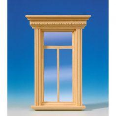 Patrizier Fenster (50171), mit echter Glasscheibe, wie #50170 (Abbildung), jedoch weiß lackiert. Zum lackieren des Fensterrahmens und der bereits montierten Sprossen, kann die Glasscheibe einfach aus dem Rahmen entfernt werden! Maße: 98 x 146 mm (BxH), Ausschnittmaße: 65 x 127 mm.