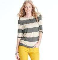 Striped Tie Back Banded Hem Tee - A drapey tee starring colorblocked stripes is an instant charmer. Jewel neck. 3/4 dolman sleeves. Banded neckline. Keyhole detail at back neck with grosgrain ties. Gathered elasticized hem.