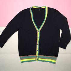 JCrew Cardigan Lightweight Merino Wool Neon Trim Navy Blue 47271 Women Size M  | eBay