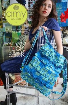 Amy Butler the wanderer ruck sack Bag  sew pattern pieces included diagrams