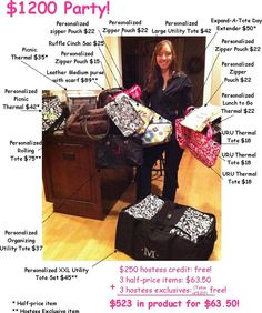 Look at ALLLLLLL the goodies you can get with a $1200 party!!    www.facebook.com/groups/SarahOttosFUNctionalBags