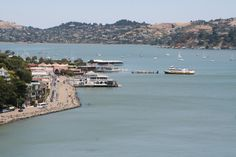 Beautiful view of Sausalito waterfront and ferry - Marin County, CA