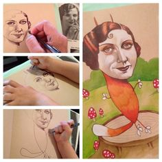 """Hendricks' daughter kept asking her """"for more heads"""" to draw bodies on, so every night she'd do up a new round of heads for her daughter to add bodies to. 