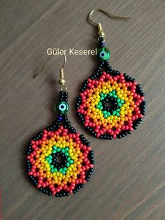 Seed Bead Jewelry, Seed Bead Earrings, Diy Earrings, Pony Bead Projects, Seed Bead Projects, Beaded Flowers Patterns, Beading Patterns, Collar Redondo, Bead Loom Designs