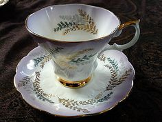 Royal Albert Tea Cup & Saucer Blue & White with Gold Ferns