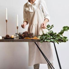 Linen Apron, Kitchen Collection, Minimalist Kitchen, Kitchen Colors, Log Homes, Clean House, Cotton Linen, Beige, Aprons