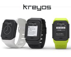 Kreyos, same screen as the Pebble but with a few more sensors.