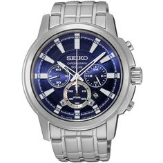 Seiko Core Collection SSC387 - Mens Silver Solar Chronograph Watch w/... (965 AED) ❤ liked on Polyvore featuring men's fashion, men's jewelry, men's watches, mens silver watches, men's blue dial watches, mens watches, mens chronograph watch and mens watches jewelry