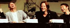 "I don't know what is going on here, but I feel like it's at Jared's expense - looking at how hard Jensen and Misha are laughing, and Jared is just like ""Omg not funny guys! But... so funny... STOP."""