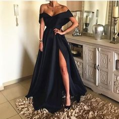 Off The Shoulder V Neck Long Split Evening Gowns 2018 Prom Dress