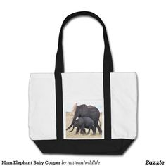 Mom Elephant Baby Cooper Tote Bag
