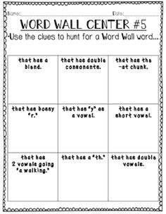 {Free} Word Wall Activities to use during word work.  Activities to help make your word wall interactive.