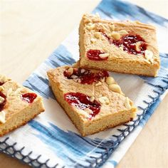Remember baking with mom? Remember getting your hands messy? And remember the taste of making treats together? Well it's time to create those same memories with your kids thanks to these scrumptious PB&J-inspired blondies. Good Food, Yummy Food, Delicious Meals, Fun Food, Cookie Recipes, Dessert Recipes, Jelly Recipes, Fun Craft, Peanut Butter Recipes