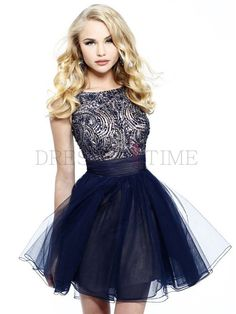 Buy Modern Princess Scoop Empire Waist Crystal Short/Mini Satin Homecoming dress HD-9703 Default Category under $139.99 only in DressesTime....