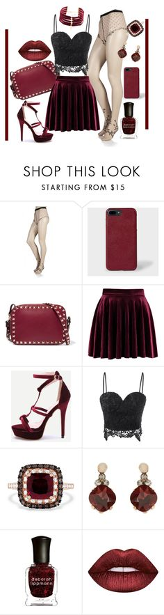 """""""Untitled #15"""" by jiofalcon ❤ liked on Polyvore featuring Trasparenze, Valentino, Effy Jewelry, Accessorize, Deborah Lippmann, Lime Crime, Vanessa Mooney, lace, velvet and wine"""