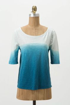 Anthropologie Saturday Sunday Blue Ombre Oversized Short Sleeve Knit Tee Top M  #Anthropologie #KnitTop #Casual