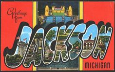 Jackson Michigan MI 1940s Large Letter Greetings From MI Vintage Postcard