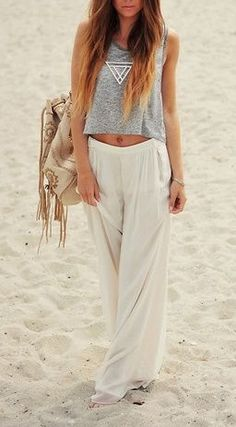 Flowy white pants would be super cute (and comfy) for a coastal trip!