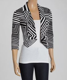 Love this Chris & Carol Black Stripe Crop Blazer by Chris & Carol on #zulily! #zulilyfinds