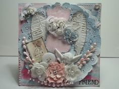 Shabby Chic card - Designer: Kelly Peters Cherub, Burlap Wreath, Cardmaking, Mixed Media, Goodies, Shabby Chic, Scrapbook, Pockets, Crafty
