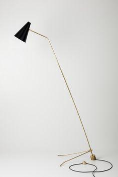 Claudio Brocchini; Chiacchiera floor lamp, brass, enameled metal, Italy, c2015