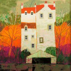 Autumn Castle - Image size 40 x 40cm - Mixed Media - George Birrell
