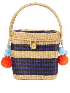 d5e3bf4920 Cinto striped wicker basket bag