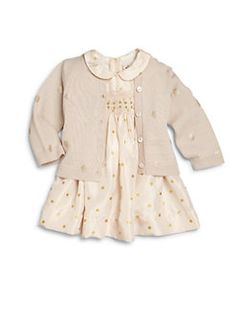 Bonpoint - Baby's Dotted Silk Dress & Bloomers Set