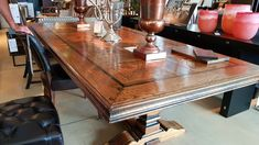 Magnificent hand made parquet table. A statement piece. Furniture Manufacturers, Furniture Outlet, Outlets, Dining Table, Rustic, Home Decor, Country Primitive, Decoration Home, Room Decor