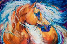 Abstract Art Gallery: ABSTRACT HORSE ART ORIGINAL OIL PAINTING by MARCIA BALDWIN